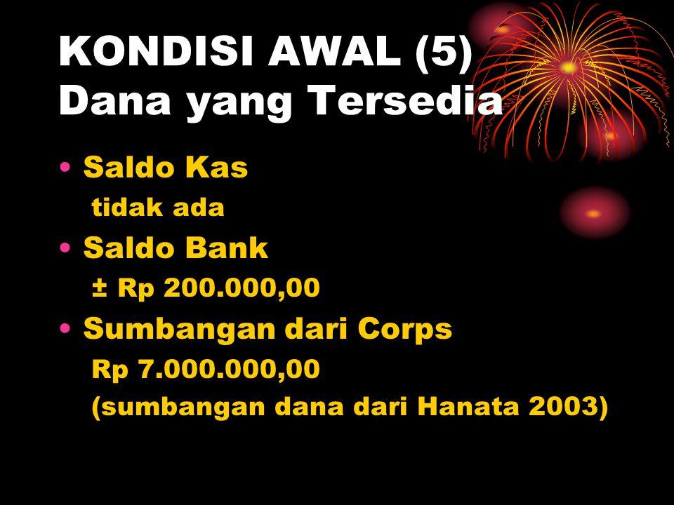 KONDISI AWAL (5) Dana yang Tersedia •Saldo Kas tidak ada •Saldo Bank ± Rp 200.000,00 •Sumbangan dari Corps Rp 7.000.000,00 (sumbangan dana dari Hanata 2003)