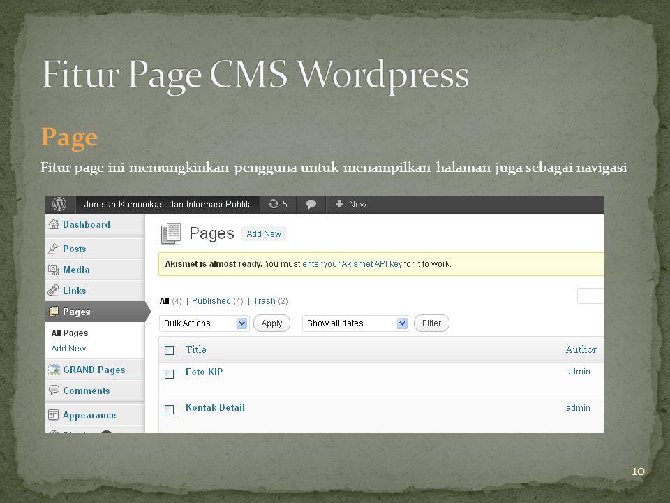 Page Fitur page ini memungkinkan pengguna untuk menampilkan halaman juga sebagai navigasi 10
