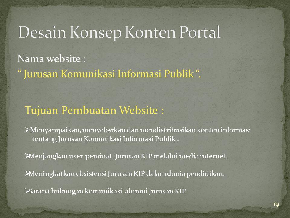 Nama website : Jurusan Komunikasi Informasi Publik .
