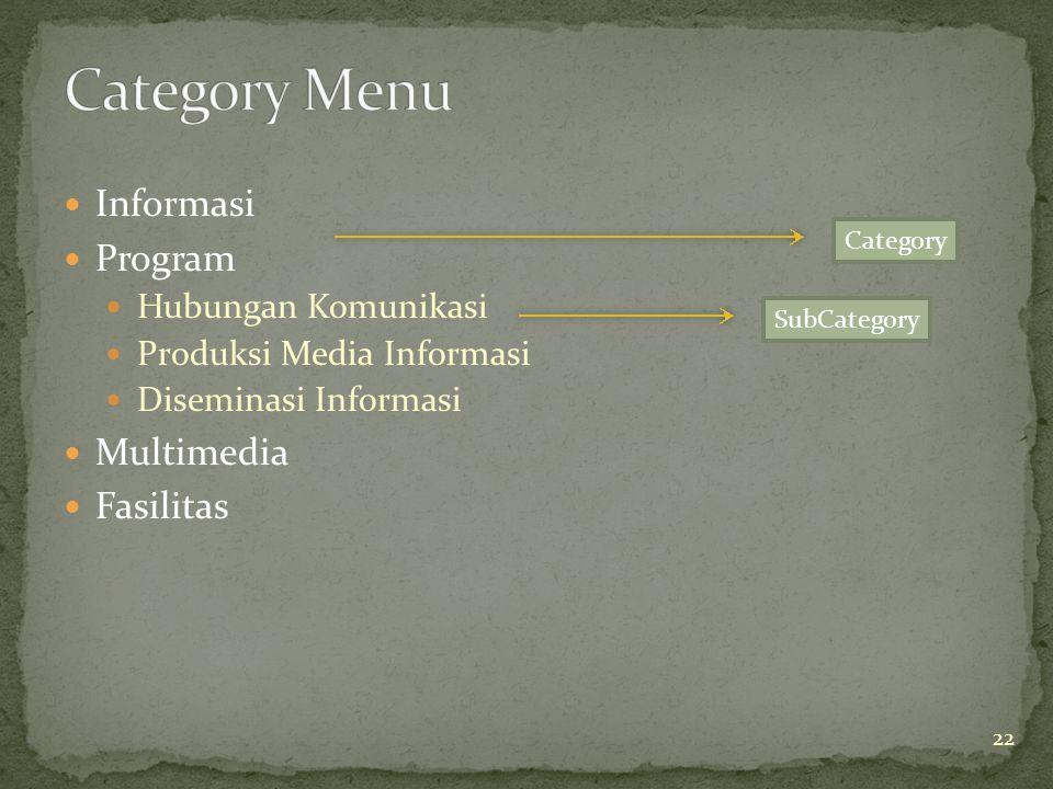  Informasi  Program  Hubungan Komunikasi  Produksi Media Informasi  Diseminasi Informasi  Multimedia  Fasilitas Category SubCategory 22