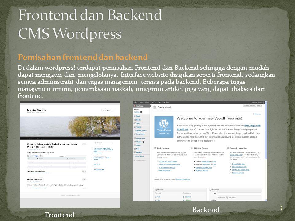 Pemisahan frontend dan backend Di dalam wordpress.