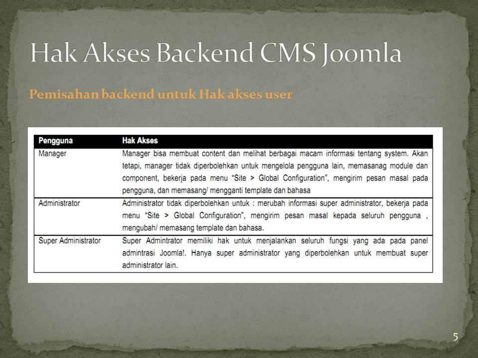 Pemisahan backend untuk Hak akses user 5