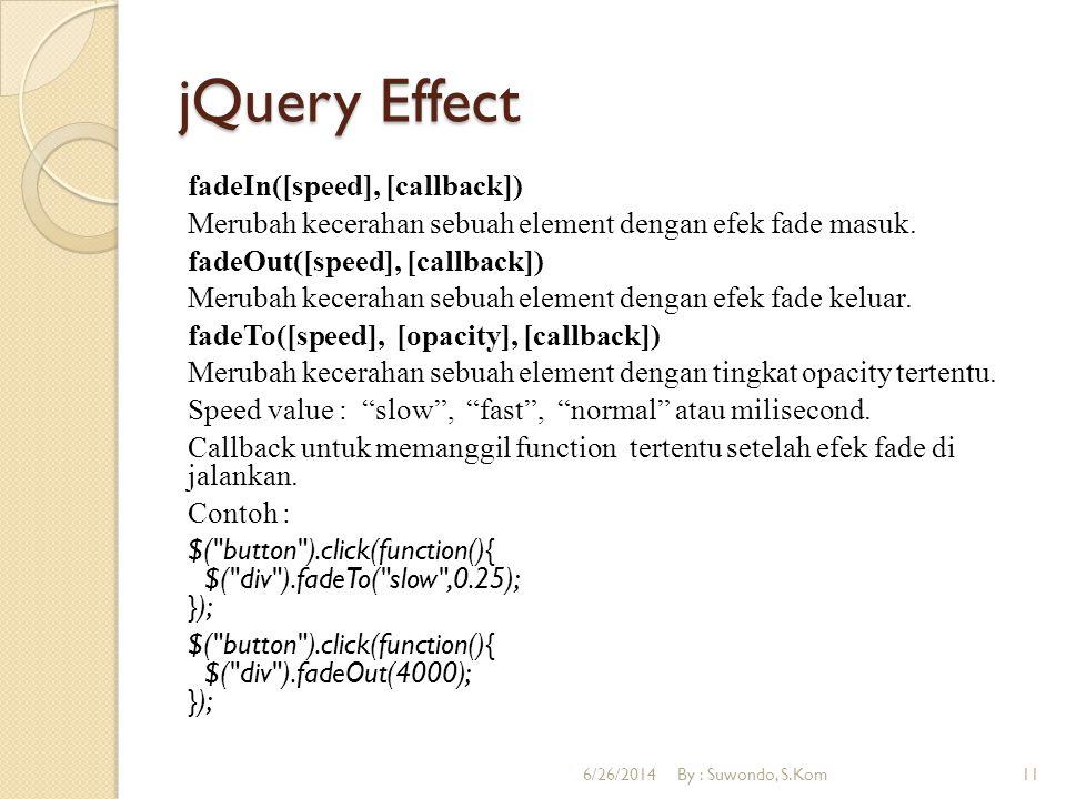 jQuery Effect fadeIn([speed], [callback]) Merubah kecerahan sebuah element dengan efek fade masuk. fadeOut([speed], [callback]) Merubah kecerahan sebu