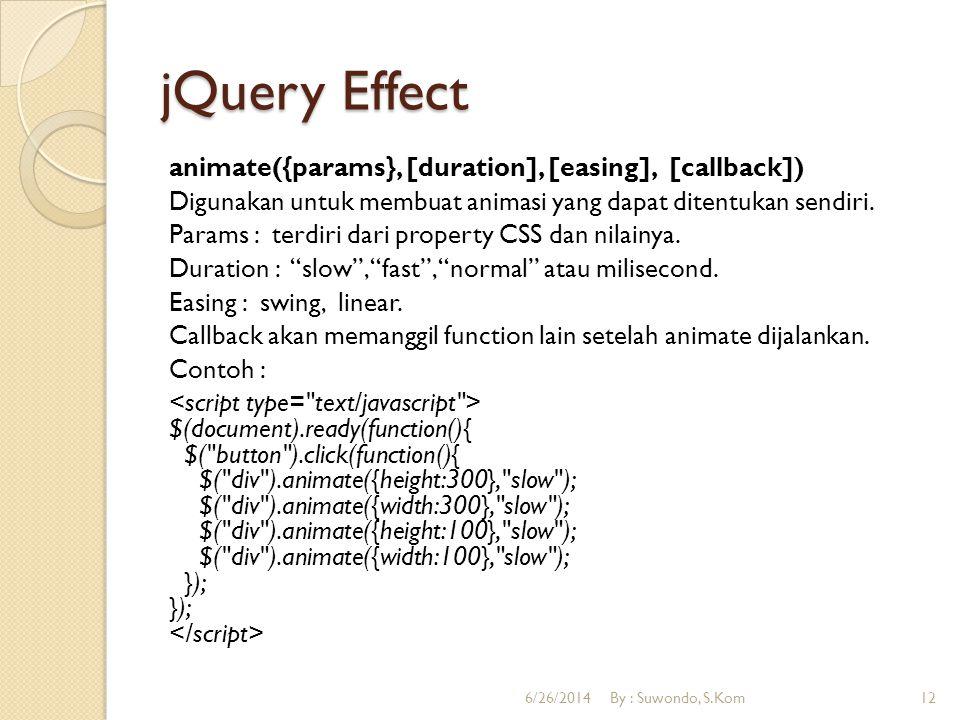 jQuery Effect animate({params}, [duration], [easing], [callback]) Digunakan untuk membuat animasi yang dapat ditentukan sendiri. Params : terdiri dari