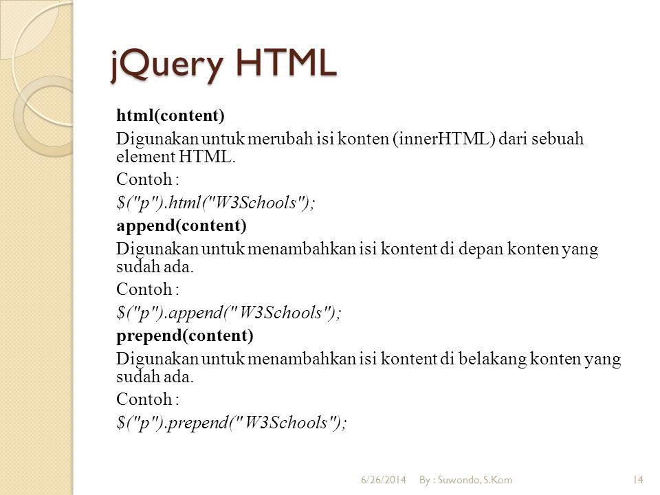 jQuery HTML html(content) Digunakan untuk merubah isi konten (innerHTML) dari sebuah element HTML. Contoh : $(