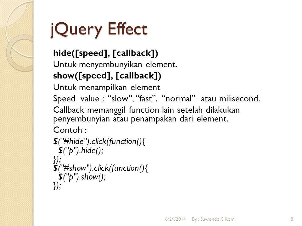 "jQuery Effect hide([speed], [callback]) Untuk menyembunyikan element. show([speed], [callback]) Untuk menampilkan element Speed value : ""slow"", ""fast"""