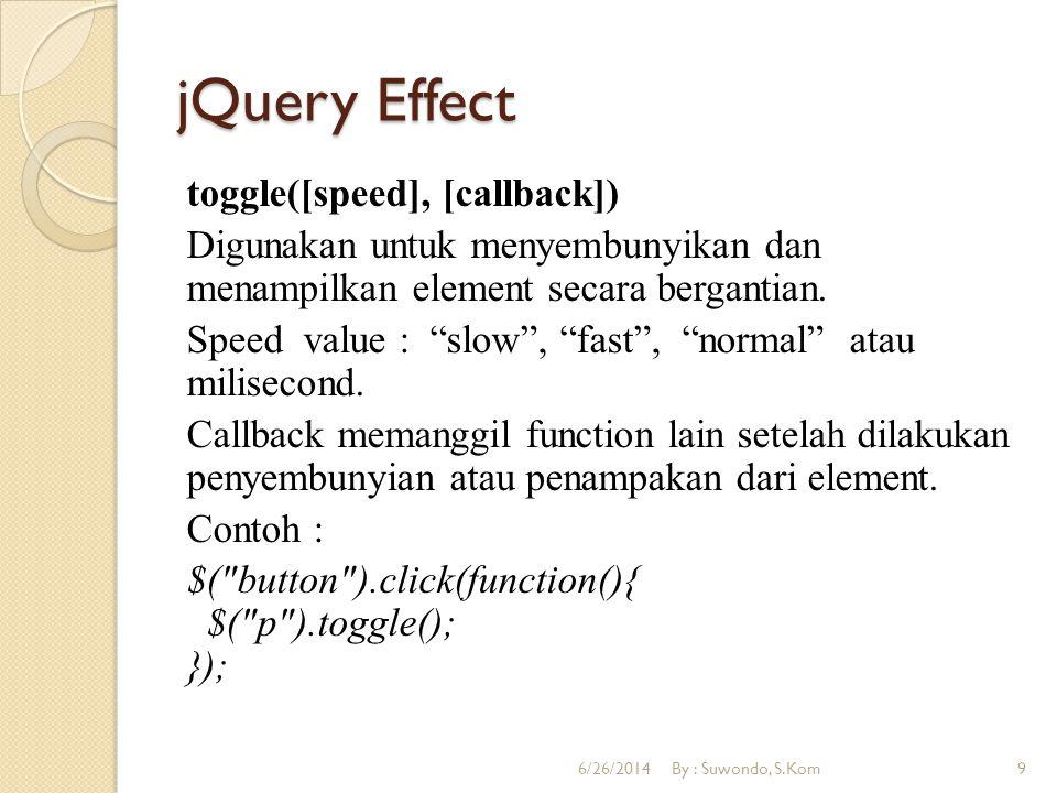 "jQuery Effect toggle([speed], [callback]) Digunakan untuk menyembunyikan dan menampilkan element secara bergantian. Speed value : ""slow"", ""fast"", ""nor"