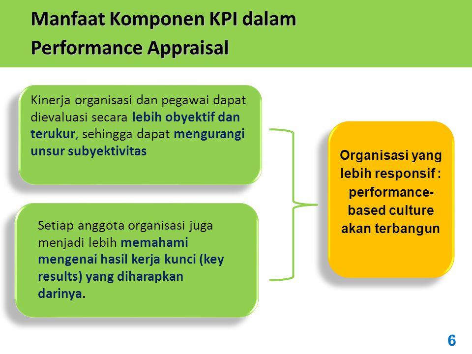 Kinerja organisasi dan pegawai dapat dievaluasi secara lebih obyektif dan terukur, sehingga dapat mengurangi unsur subyektivitas Setiap anggota organisasi juga menjadi lebih memahami mengenai hasil kerja kunci (key results) yang diharapkan darinya.