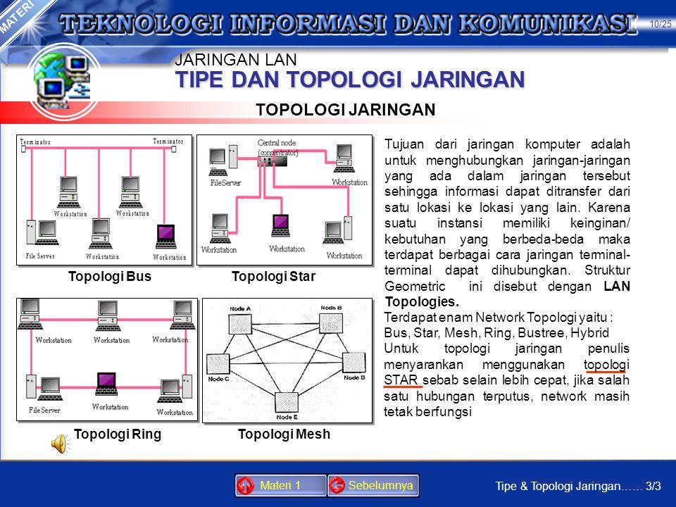 TIPE DAN TOPOLOGI JARINGAN TIPE JARINGAN 2. Client/server Pada jaringan client/server sebuah komputer server (induk) akan mengontrol akses kejaringan