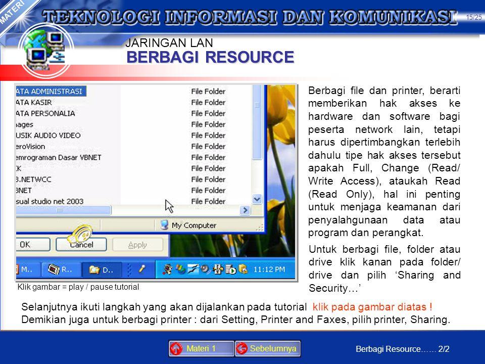 BERBAGI RESOURCE MATERI Dengan berbagi file dan printer, berarti Anda memberikan akses ke hardware dan software bagi peserta network lainnya. Sebelumn