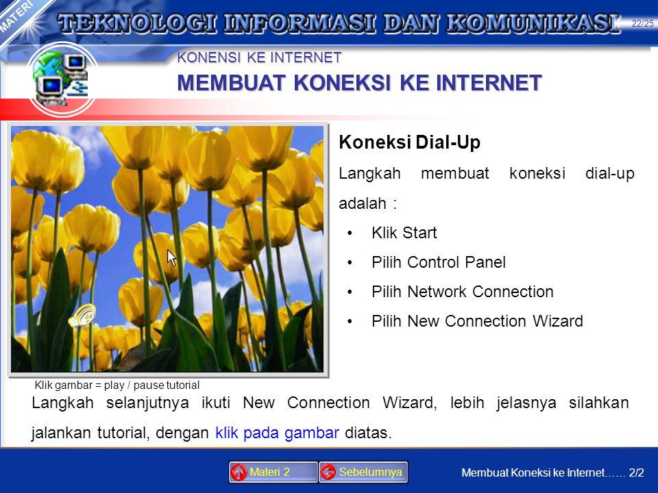KONENSI KE INTERNET 1.Di mayoritas daerah di Indonesia saat ini akses internet meng- gunakan koneksi dial-up. 2.Untuk koneksi tersebut diperlukan mode