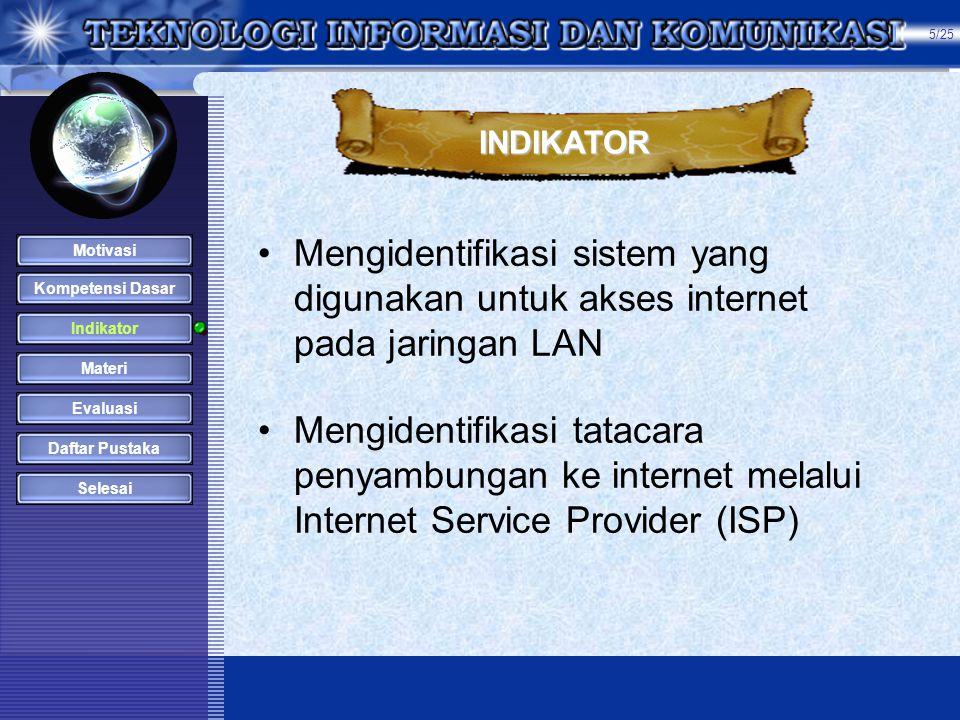 •Mengidentifikasi sistem yang digunakan untuk akses internet pada jaringan LAN •Mengidentifikasi tatacara penyambungan ke internet melalui Internet Service Provider (ISP) INDIKATOR Kompetensi Dasar Indikator Materi Evaluasi Daftar Pustaka Selesai Motivasi 5/25