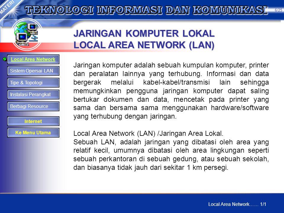 JARINGAN KOMPUTER LOKAL LOCAL AREA NETWORK (LAN) Jaringan komputer adalah sebuah kumpulan komputer, printer dan peralatan lainnya yang terhubung.