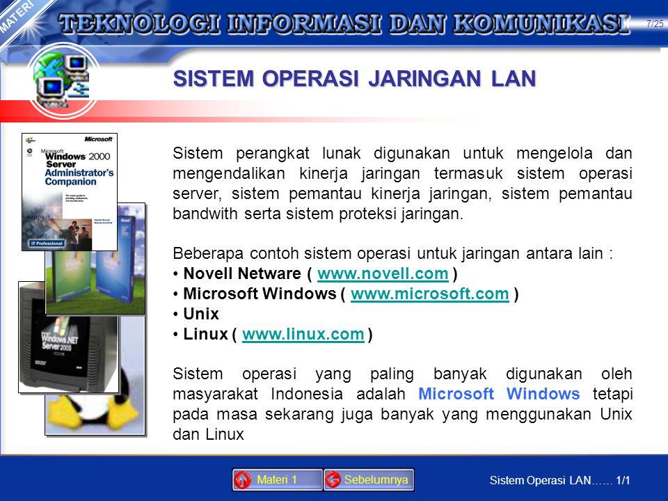 JARINGAN KOMPUTER LOKAL LOCAL AREA NETWORK (LAN) Jaringan komputer adalah sebuah kumpulan komputer, printer dan peralatan lainnya yang terhubung. Info