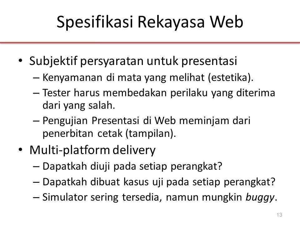 Spesifikasi Rekayasa Web • Subjektif persyaratan untuk presentasi – Kenyamanan di mata yang melihat (estetika). – Tester harus membedakan perilaku yan