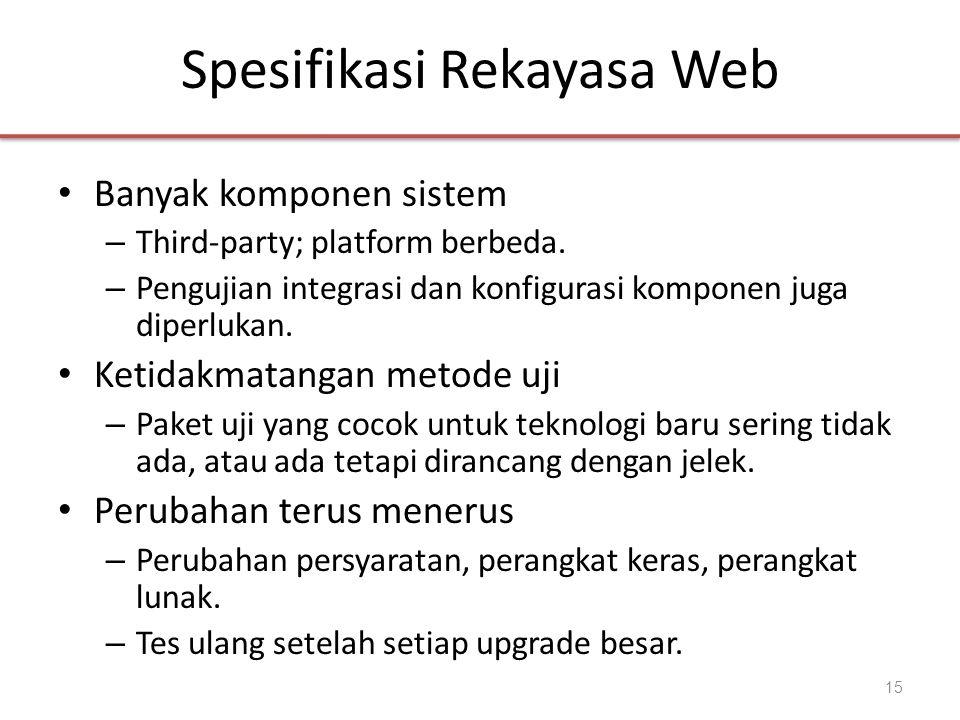 Spesifikasi Rekayasa Web • Banyak komponen sistem – Third-party; platform berbeda. – Pengujian integrasi dan konfigurasi komponen juga diperlukan. • K