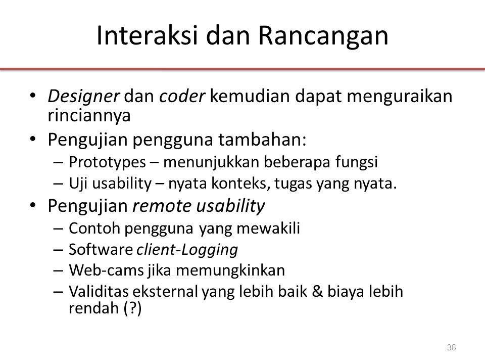 Interaksi dan Rancangan • Designer dan coder kemudian dapat menguraikan rinciannya • Pengujian pengguna tambahan: – Prototypes – menunjukkan beberapa