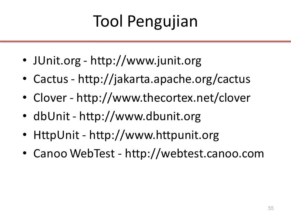 Tool Pengujian • JUnit.org - http://www.junit.org • Cactus - http://jakarta.apache.org/cactus • Clover - http://www.thecortex.net/clover • dbUnit - ht