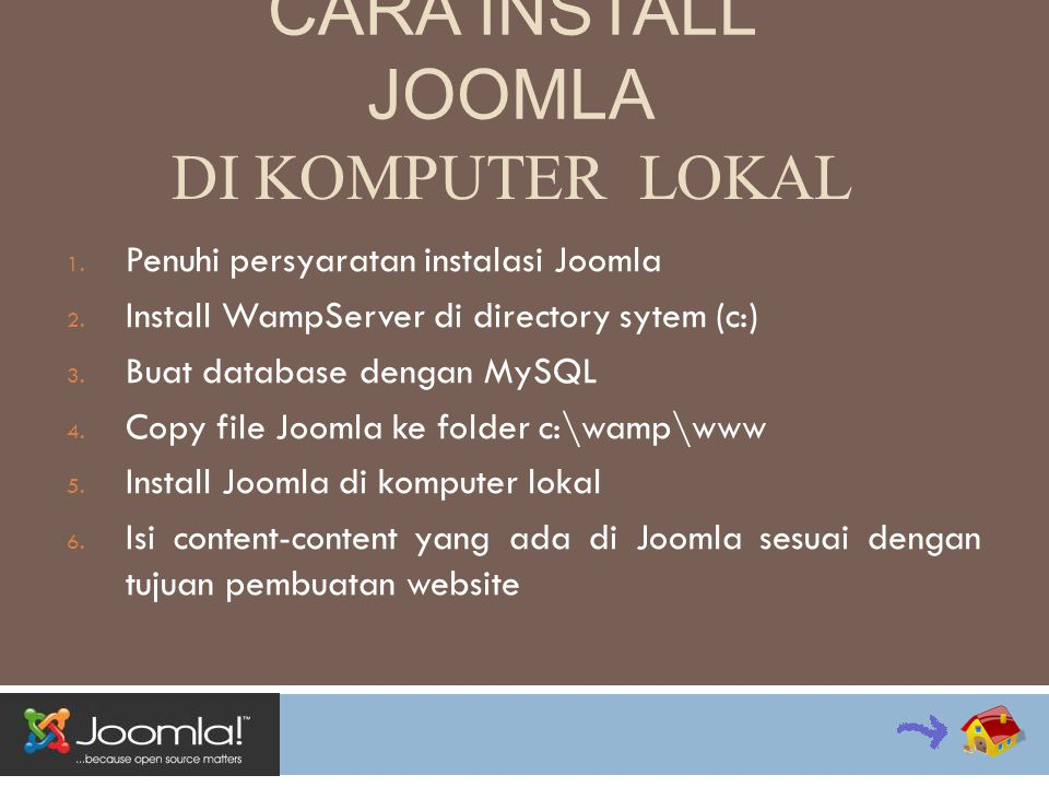 PERSYARATAN  Web server Apache (minimum versi 1.3) – disarankan versi 2.x +  Bahasa Pemrograman Website PHP (minimum versi 4.3.10) – disarankan versi 5.2 +  Database MySQL (minimum versi 3.23) – disarankan versi 4.1.x +  Sistem Operasi Windows, Linux maupun Macintos – disarankan Linux