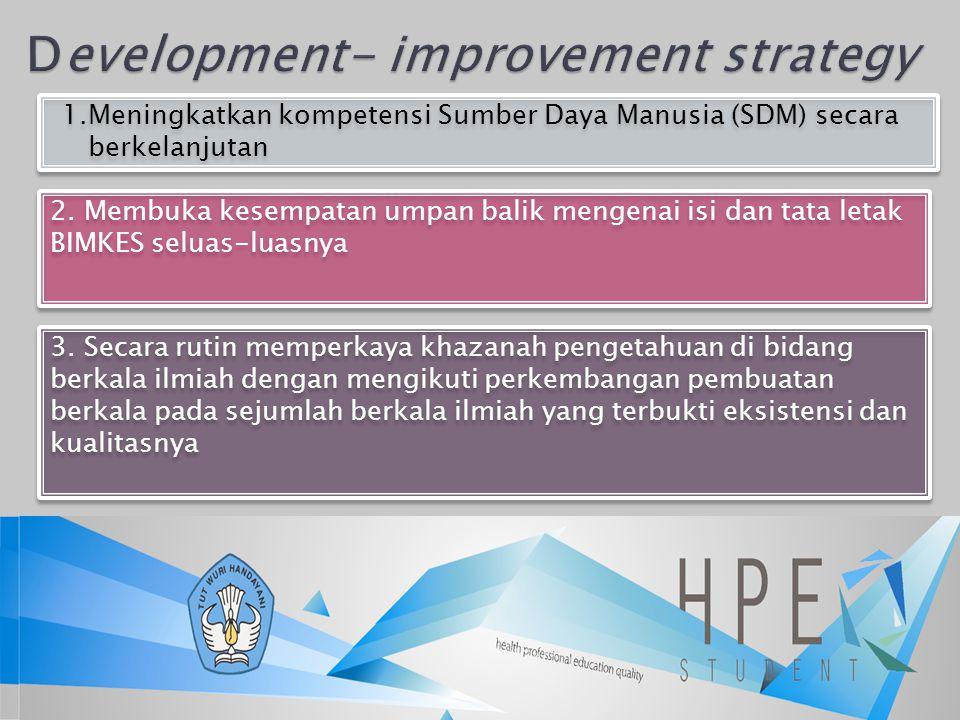 1.Meningkatkan kompetensi Sumber Daya Manusia (SDM) secara berkelanjutan 2. Membuka kesempatan umpan balik mengenai isi dan tata letak BIMKES seluas-l
