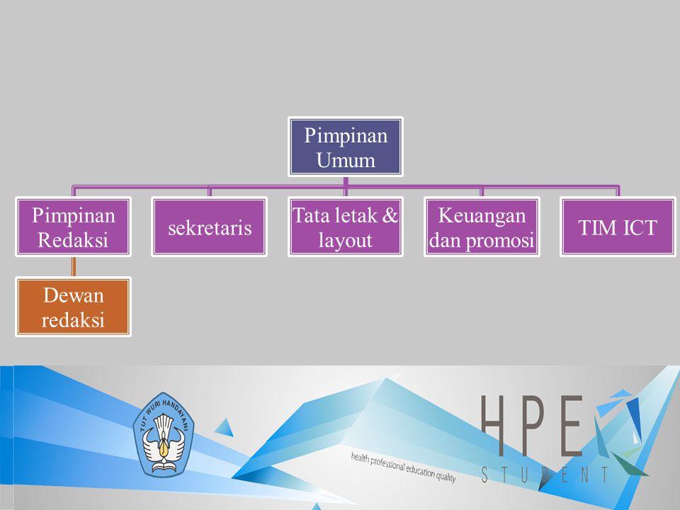 Pimpinan Umum Pimpinan Redaksi Dewan redaksi sekretaris Tata letak & layout Keuangan dan promosi TIM ICT