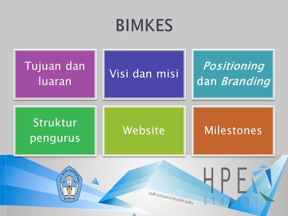 Tujuan dan luaran Visi dan misi Positioning dan Branding Struktur pengurus WebsiteMilestones