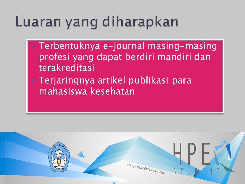  Terbentuknya e-journal masing-masing profesi yang dapat berdiri mandiri dan terakreditasi  Terjaringnya artikel publikasi para mahasiswa kesehatan