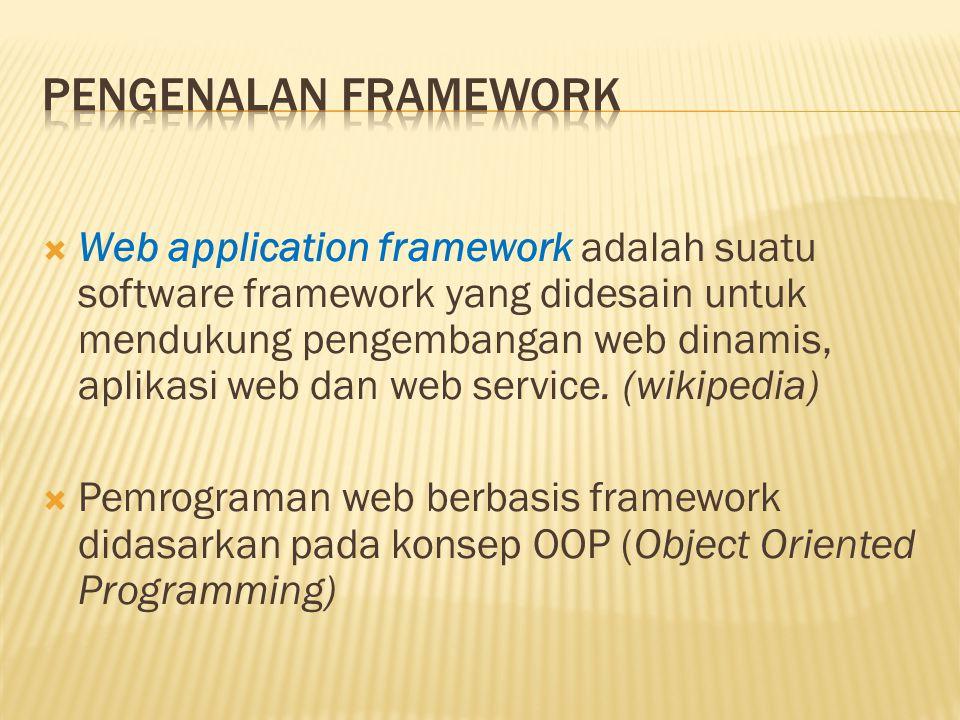  Web application framework adalah suatu software framework yang didesain untuk mendukung pengembangan web dinamis, aplikasi web dan web service. (wik