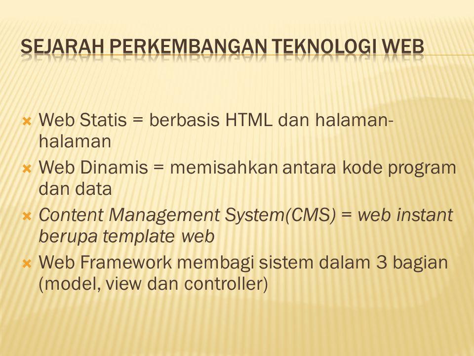  Web Statis = berbasis HTML dan halaman- halaman  Web Dinamis = memisahkan antara kode program dan data  Content Management System(CMS) = web insta