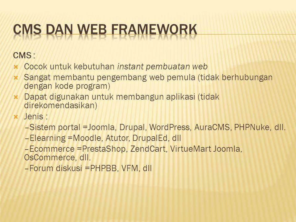CMS :  Cocok untuk kebutuhan instant pembuatan web  Sangat membantu pengembang web pemula (tidak berhubungan dengan kode program)  Dapat digunakan