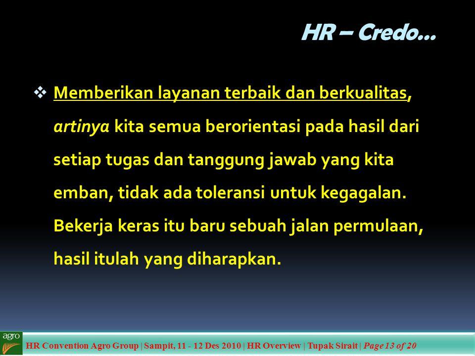 HR – Credo…  Memberikan layanan terbaik dan berkualitas, artinya kita semua berorientasi pada hasil dari setiap tugas dan tanggung jawab yang kita em