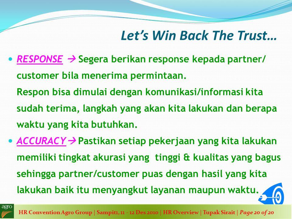 Let's Win Back The Trust…  RESPONSE  Segera berikan response kepada partner/ customer bila menerima permintaan. Respon bisa dimulai dengan komunikas