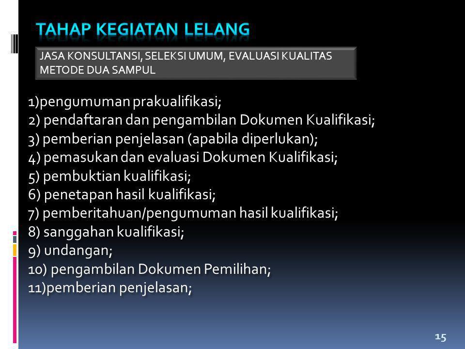 15 1)pengumuman prakualifikasi; 2) pendaftaran dan pengambilan Dokumen Kualifikasi; 3) pemberian penjelasan (apabila diperlukan); 4) pemasukan dan eva