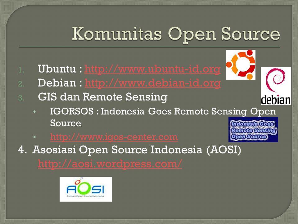 1. Ubuntu : http://www.ubuntu-id.orghttp://www.ubuntu-id.org 2. Debian : http://www.debian-id.orghttp://www.debian-id.org 3. GIS dan Remote Sensing •