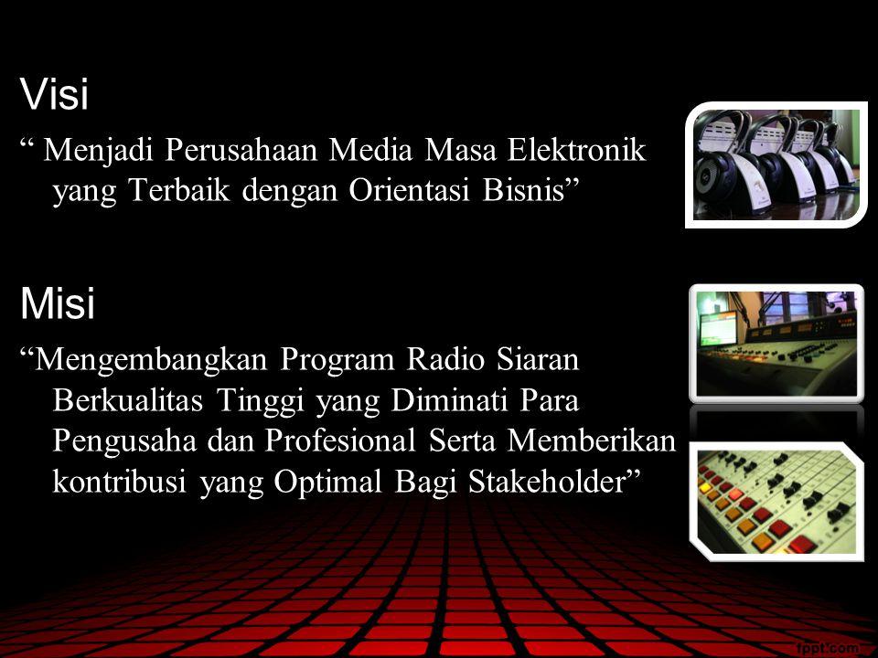 """Visi """" Menjadi Perusahaan Media Masa Elektronik yang Terbaik dengan Orientasi Bisnis"""" Misi """"Mengembangkan Program Radio Siaran Berkualitas Tinggi yang"""