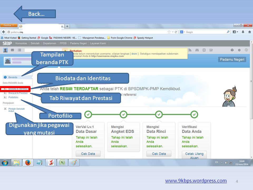 Back… www.9kbps.wordpress.com Masukan NUPTK anda Dan Pasword Untuk login 3