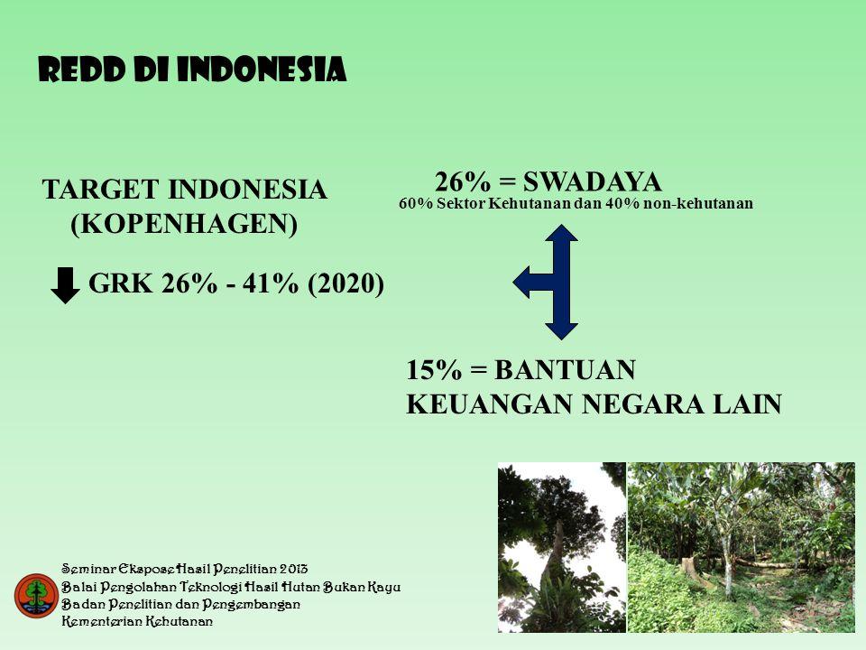 TARGET INDONESIA (KOPENHAGEN) 26% = SWADAYA GRK 26% - 41% (2020) 15% = BANTUAN KEUANGAN NEGARA LAIN 60% Sektor Kehutanan dan 40% non-kehutanan REDD DI INDONESIA Seminar Ekspose Hasil Penelitian 2013 Balai Pengolahan Teknologi Hasil Hutan Bukan Kayu Badan Penelitian dan Pengembangan Kementerian Kehutanan
