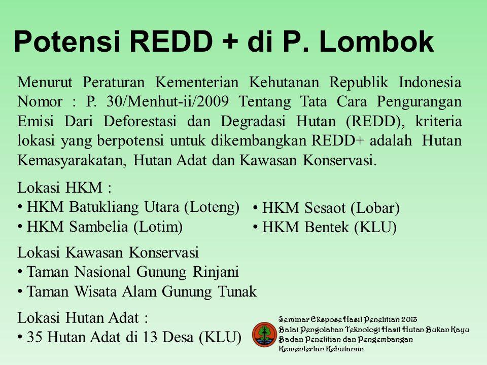 Potensi REDD + di P.Lombok Menurut Peraturan Kementerian Kehutanan Republik Indonesia Nomor : P.