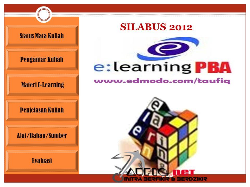 SILABUS 2012 Pengantar Kuliah Materi E-Learning Penjelasan Kuliah Evaluasi Alat/Bahan/Sumber Status Mata Kuliah