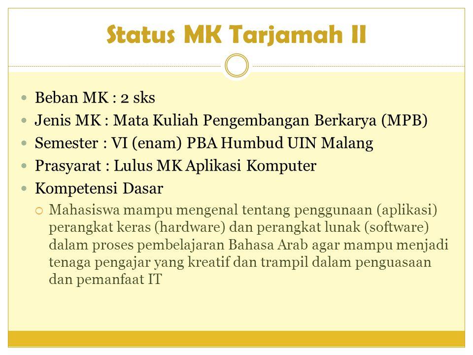 Status MK Tarjamah II  Beban MK : 2 sks  Jenis MK : Mata Kuliah Pengembangan Berkarya (MPB)  Semester : VI (enam) PBA Humbud UIN Malang  Prasyarat
