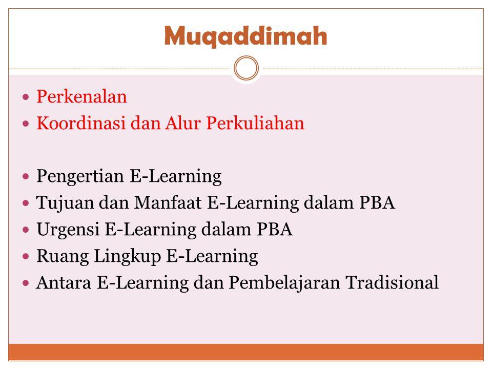 Muqaddimah  Perkenalan  Koordinasi dan Alur Perkuliahan  Pengertian E-Learning  Tujuan dan Manfaat E-Learning dalam PBA  Urgensi E-Learning dalam