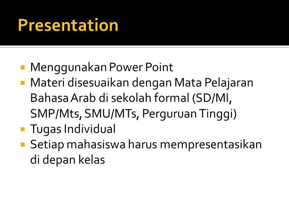  Menggunakan Power Point  Materi disesuaikan dengan Mata Pelajaran Bahasa Arab di sekolah formal (SD/MI, SMP/Mts, SMU/MTs, Perguruan Tinggi)  Tugas