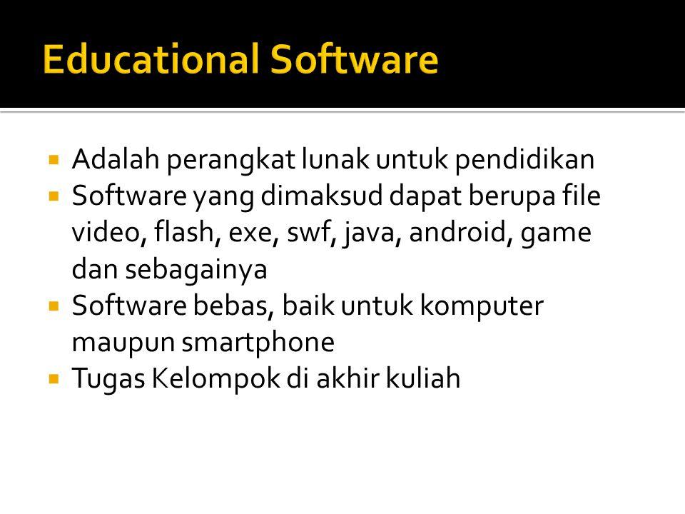  Adalah perangkat lunak untuk pendidikan  Software yang dimaksud dapat berupa file video, flash, exe, swf, java, android, game dan sebagainya  Soft