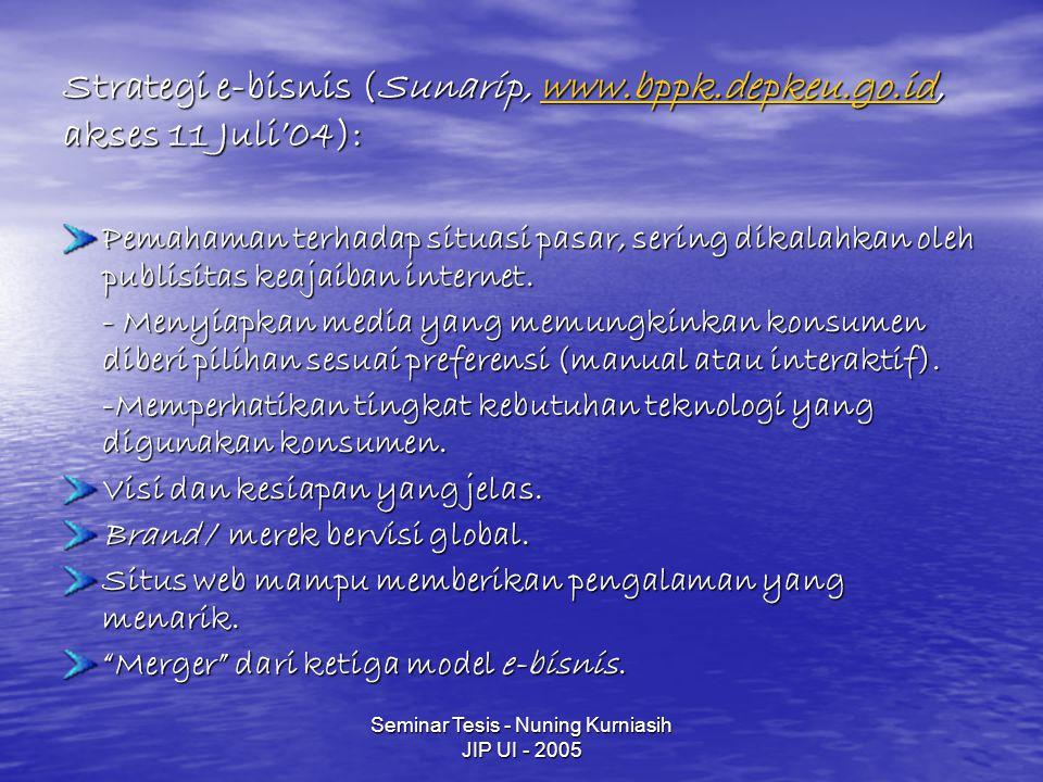 Seminar Tesis - Nuning Kurniasih JIP UI - 2005 Strategi e-bisnis (Sunarip, www.bppk.depkeu.go.id, akses 11 Juli'04): www.bppk.depkeu.go.id Pemahaman t