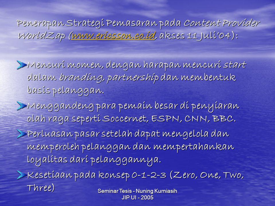 Seminar Tesis - Nuning Kurniasih JIP UI - 2005 Penerapan Strategi Pemasaran pada Content Provider WorldZap (www.ericsson.co.id, akses 11 Juli'04): www