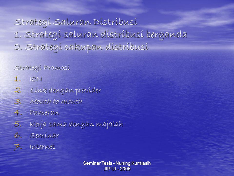 Seminar Tesis - Nuning Kurniasih JIP UI - 2005 Strategi Saluran Distribusi 1.