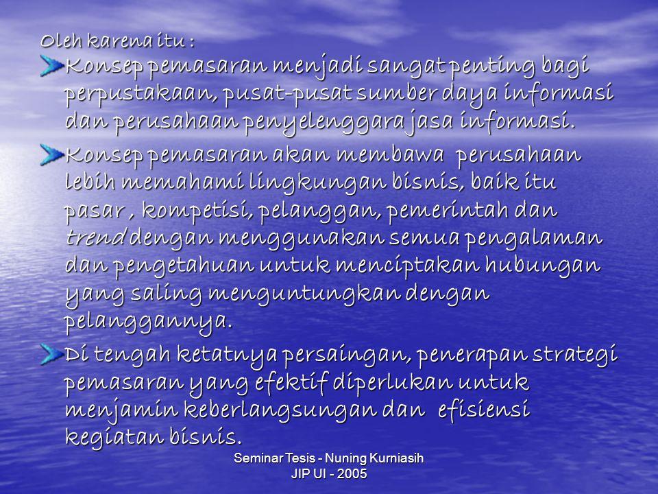 Seminar Tesis - Nuning Kurniasih JIP UI - 2005 Definisi Pasar - Perusahaan yang memerlukan informasi mengenai peluang pasar di Indonesia Segmen Pasar - Lembaga keuangan, perdagangan, konsultan-konsultan Kesadaran dan Sikap Pasar Pemberian pelatihan mengenai industri yang diteliti dari pelanggan.