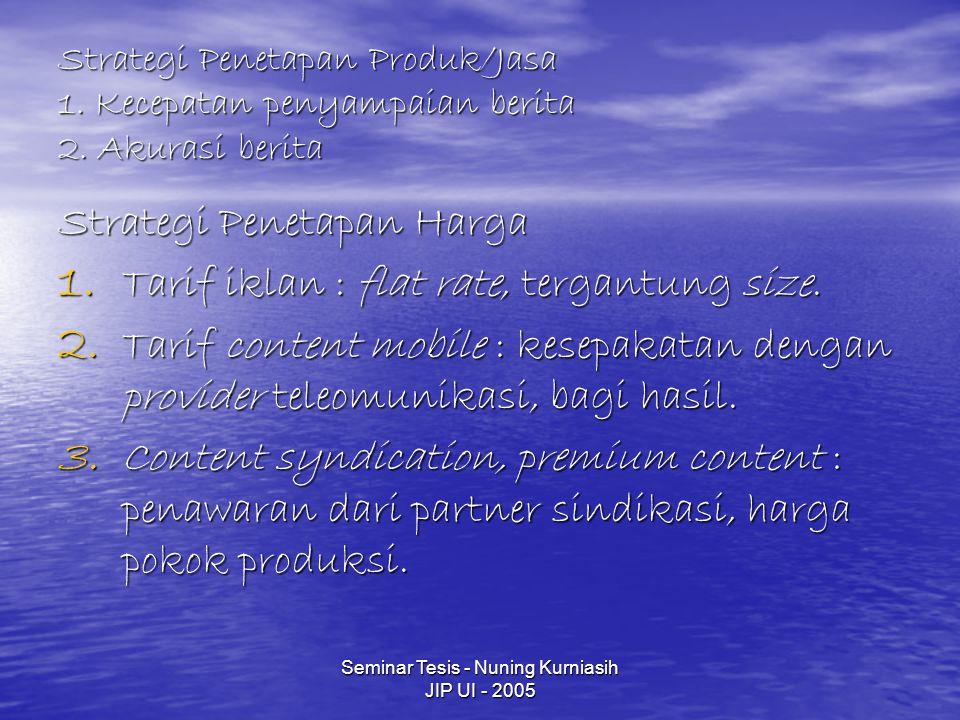 Seminar Tesis - Nuning Kurniasih JIP UI - 2005 Strategi Penetapan Produk/Jasa 1.
