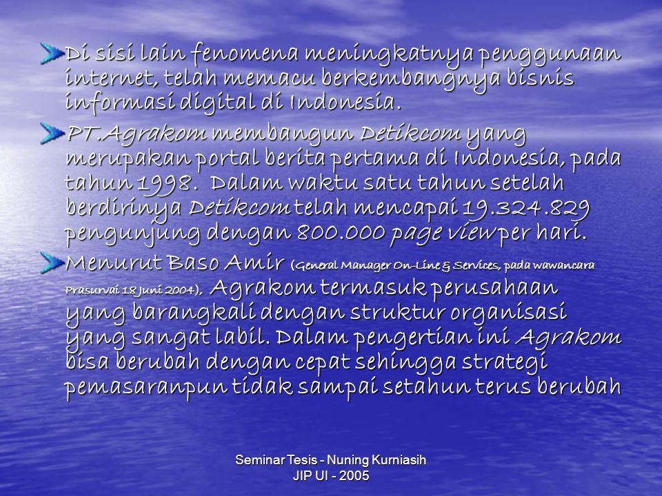 Seminar Tesis - Nuning Kurniasih JIP UI - 2005 Di sisi lain fenomena meningkatnya penggunaan internet, telah memacu berkembangnya bisnis informasi digital di Indonesia.