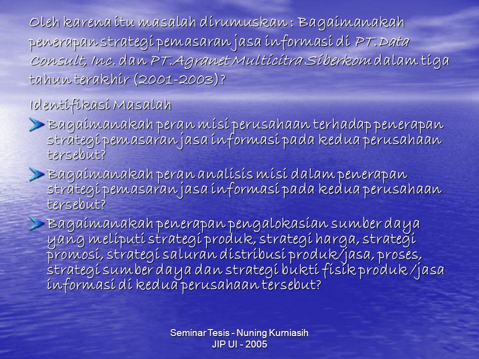 Seminar Tesis - Nuning Kurniasih JIP UI - 2005 Oleh karena itu masalah dirumuskan : Bagaimanakah penerapan strategi pemasaran jasa informasi di PT.Data Consult, Inc.